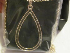 AVON Brilliant Prestige Pendant Necklace-Goldtone with Black Rhinestones 37 1/2""