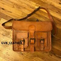 Leather Brown Bag High Profile Messenger Shoulder Men's Laptop Satchel Handbag