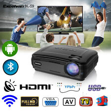 4K 3D 1080P WiFi 3200LM Projector Home Theater Cinema Android Bluetooth AV/HDMI