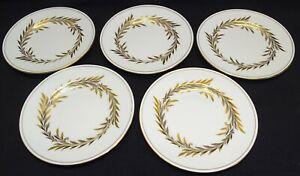 "Minton England Malta 5 Bread Plates Gold 6 1/4"" -Bone China"