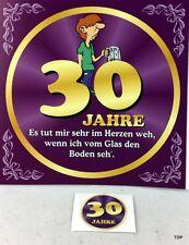 Aufkleber Flaschenetikett 30 Jahre mit witzigen Spruch Geburtstag Bierflasche