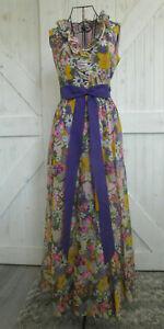 70's Vintage Miss Elliette Purple Pink White Floral Hippy Hostess Maxi Dress S M
