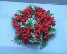 """3"""" Candle Ring Christmas Decoration 'Varigated Holly & Red Berry' Fits Pillar Ca"""