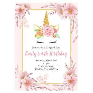 30 invitations unicorn floral pink gold birthday baby shower personalized
