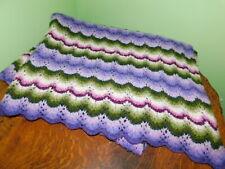 "Vintage Shell Design Crochet  Afghan 68""x49"" Green Purple"