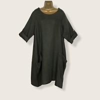 LINEN DRESS KHAKI GREY Made In Italy Pockets Lagenlook Women UK Size 16 18 20