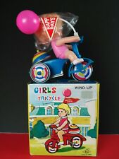 """Vintage Tin Litho Wind Up Trike 6"""" Tricycle Bell Happy Days Girl"""