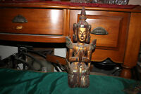 Antique Hindu Wood Carved Statue-Woman God In Prayer-Religious Spiritual-Glass