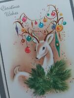 Vtg DEER Reindeer w ORNAMENT Antlers Mid Century CHRISTMAS GREETING CARD