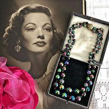 Vintage 1950s Aurora boreal AB Doble Collar Regalo de filigrana Broche De Oro