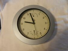 Gray Quartz Round Wall Clock With Temperature & Hygrometer from Equity #29002-1