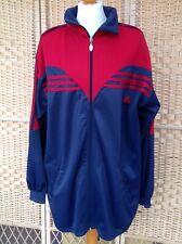 "ADIDAS Vintage XXL Navy Blue & Red Tracksuit Zip Top Jacket Stripe 50"" chest"