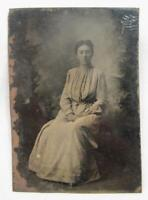 Beautiful Young Woman Seated In Dress Antique 6th Sixth Plate Tintype No Case O