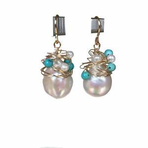 12mm Kasumi Baroque Natural White Pearl Earrings luster AAA+ W/Lazurite