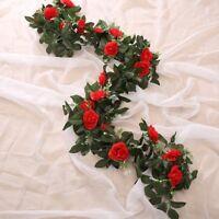 Artificial Rose Garland Silk Florals Fake Vine Ivy Wedding Party String Hanging