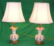 VTG FENTON GLASS OPALESCENT WHITE PINK SILK SHADE LAMP LIGHT ELEGANT HOME DECOR