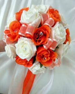 Bridesmaids Wedding Bouquet, Orange silk  and ivory foam roses with diamante