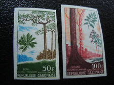 GABON - timbre - yvert et tellier aerien n° 63 64 n** (non dentele) (A7) stamp