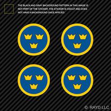 "(4x) 1.5"" Swedish Air Force Roundel Sticker Die Cut Decal Sweden SWE SE"