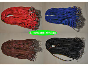 1, 5 or 10 Adjustable Faux Leather Braided Necklace Cords 3mm/18 - Lobster Clasp
