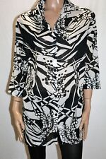 ada Brand Black White Sheer Cotton 3/4 Sleeve Shirt Top Size M LIKE NEW #AN02