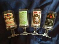 🔴 Collezione completa bicchieri MARTINI Etichette Storiche anni 70 Verre Glass