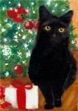 BCB Black Black Cat CHRISTMAS Tree & Gift Print of Painting ACEO 2.5 x 3.5 Inch