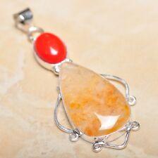 "Handmade Calcite Jasper Gemstone 925 Sterling Silver Pendant 2.75"" #P14296"