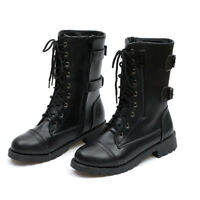 Womens Lady Combat Army Military Worker Lace Up Flat Biker Zip Ankle Boots Shoes