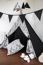 Kids Teepee Ivory Lace, Black Cotton - POLES INCLUDED cubby tent playhouse tipi
