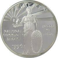1996 S $1 National Community Service Commemorative Silver Dollar Choice Proof