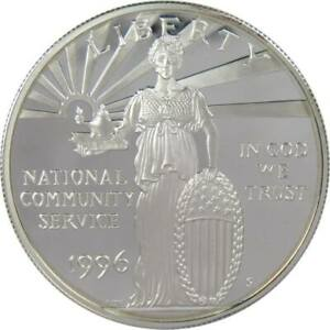 National Community Service Commemorative 1996 S 90% Silver Dollar Proof $1 Coin