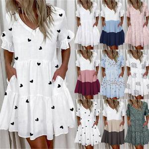 Women Summer Short Sleeve Dress Ladies Ruffle Frill Mini Swing Dresses Plus Size