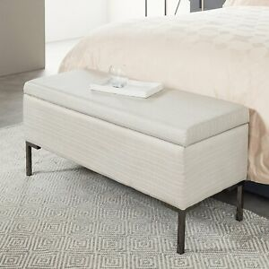 Ottoman with Storage K by Kelly Hoppen Rectangular - Stripped Grey