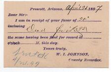 1897 US Gov't Issued Postcard from County Recorder of Prescott Arizona