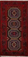 Tribal Nomad Balouch Afghan Geometric Oriental Area Rug Hand-Knotted Carpet 3x6