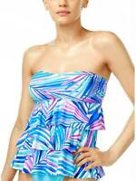 Island Escape Womens Bali Breeze Printed Tiered Tankini Top 8 Pink Swimsuit