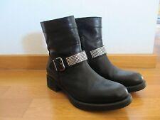 UNISA Leder Boots Stiefeletten Stiefel schwarz mit Swarovski Kristallen Gr.37 nw
