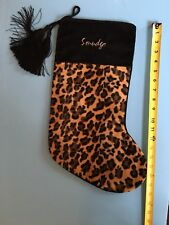 "EUC! Leopard Print Christmas Stocking 18"" for Pet ""Smudge"" Black Tassels Sweet!"