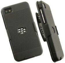 BLACK RIBBED HARD CASE COVER + BELT CLIP HOLSTER STAND FOR BLACKBERRY Z10 LONDON