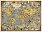 Pictorial+Map+World+Wonders+History+Home+Schooling+Wall+Art+Poster+Print+11%22x14%22