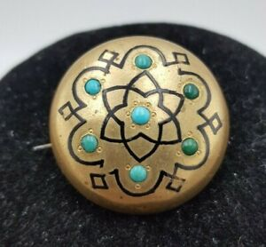Antique Victorian Pinchbeck Turquoise Stone Round Brooch with Flower Design.