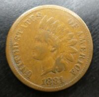 1881 Indian Head Cent Pennt Fine F or Very Fine VF Problem Free Original