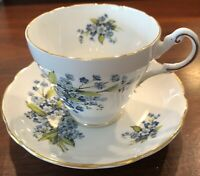 VINTAGE REGENCY TEA CUP AND SAUCER - ENGLISH BONE CHINA - BLUE FORGET-ME-NOTS