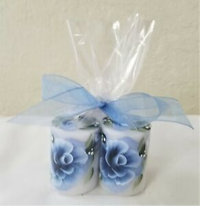 """Pillar Candle Blue Roses Hand Painted 2"""" Set Of 2"""