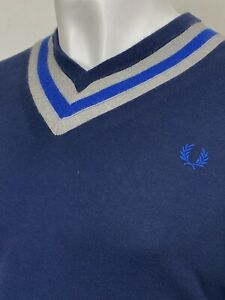 Fred Perry   Cotton Tipped V-Neck Jumper Sweater XL (Navy) Mod Scooter 60s
