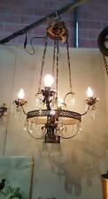 Lampadario lamierino ferro porpora cristallo 5 luci. h. cm. 100x60