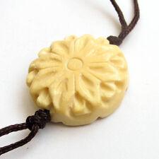 Tibet Bone Buddhist Lotus Flower Amulet Pendant Bead Double Faces