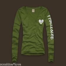 Hollister by Abercrombie V Neck Back Arm Logo Tunic Top L/S Cute XS S M L