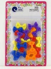 TARA GIRLS SELF HINGE PLASTIC BOW HAIR BARRETTES - 20 PCS.  (08973)